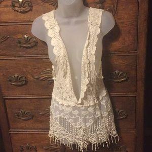 Anna Kaci crocheted and lace vest xs/sm